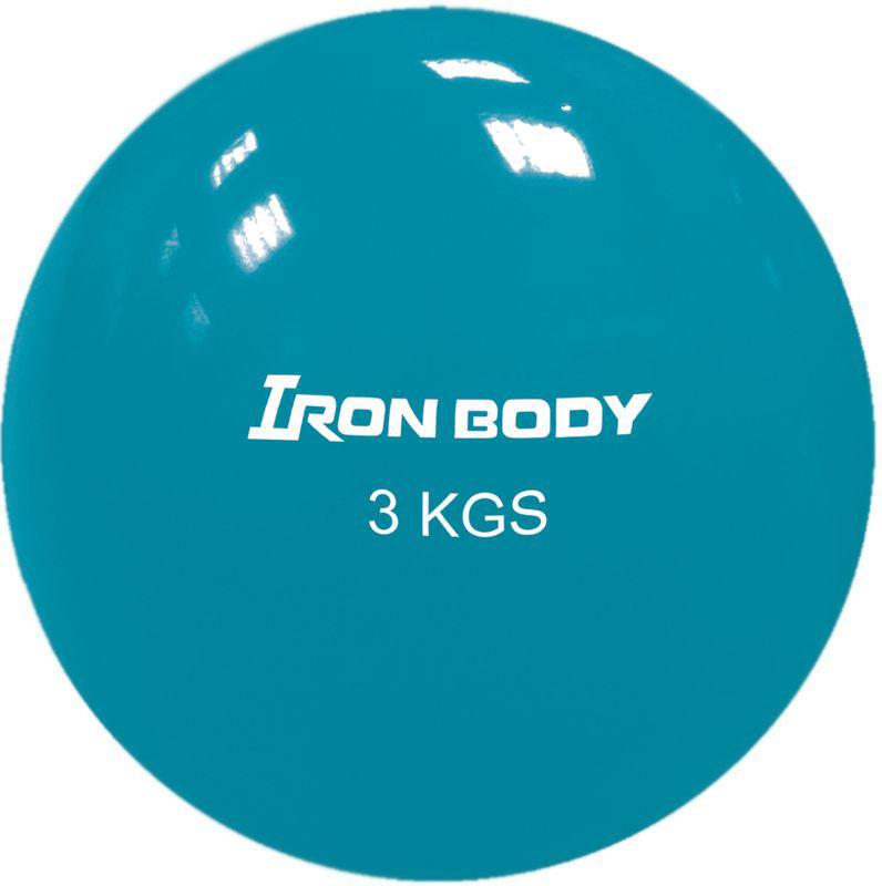 Медицинбол Iron Body 1796EG-68, цвет: бирюзовый, 3 кг345293Материал: поливинилхлорид. Наполнение: песок. Дополнительная информация: Предназначен для укрепления мышц плечевого пояса, спины, рук и ног. Диаметр: 16 см. Вес: 3 кг.