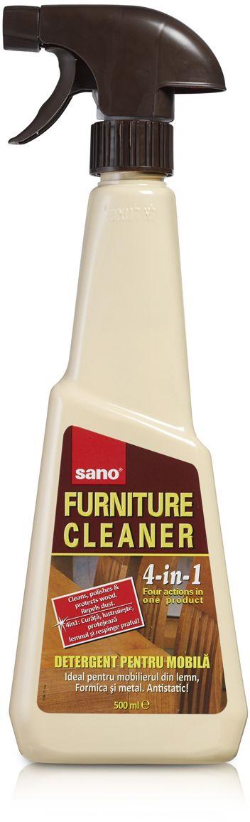 Средство для чистки мебели Sano Furniture Cleaner, 500 мл600009Средство Sano Furniture Cleaner: придает блеск, удаляет пыль, пятна и следы пальцев, обладает антистатическим свойством, отталкивает пыль. Подходит для любой мебели. Товар сертифицирован.