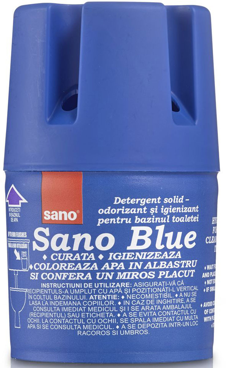 Мыло для сливного бака Sano Blue, гигиеническое, 150 г600028Средство Sano Blue, 150гГигиеническое мыло для унитазов. Устанавливается в сливной бачок. Очищает и дезинфицирует при каждом сливе воды. Обладает приятным запахом, окрашивает воду в синий цвет. До 900 сливов.