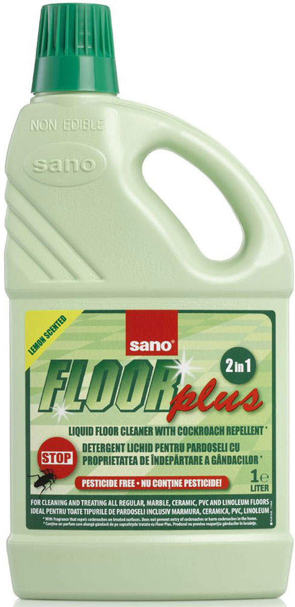 Средство для мытья полов Sano Floor Plus, 1 л600035Средство для мытья полов Sano Floor Plus со свежим лимонным запахом лимона и репеллентом от тараканов покрывает пол защитным слоем воска. Подходит для всех типов полов - обычных, мраморных, паркета и ламината, керамических, ПВХ, линолеума.Абсолютно безопасно для детей и домашних животных. Состав: до 5% анионных и нонионных поверхностно-активных веществ, ароматизаторы отпугивающие тараканов (Limonene, Hexyl Cinnamal, Citronellol, Citral, Linalool, Geraniol, Coumarin).Товар сертифицирован.