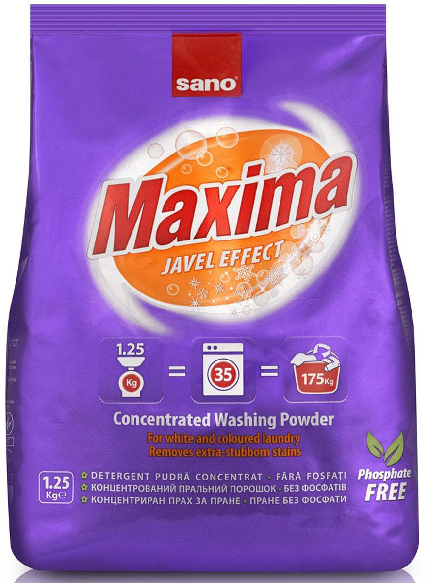 Порошок стиральный Sano Maxima Javel, концентрированный, 1,25 кг600057Концентрированный стиральный порошок Sano Maxima Javel предназначен для стирки изделий из хлопка, льна и синтетических тканей. Подходит для всех типов стиральных машин при различной температуре. Идеально подходит для стирки в жесткой воде, Включает в себя компоненты, предотвращающие возникновение накипи и известкового налета. Способствует эффективному удалению пятен от кофе, чая, вина, фруктов, травы, соусов и много другого.Товар сертифицирован.