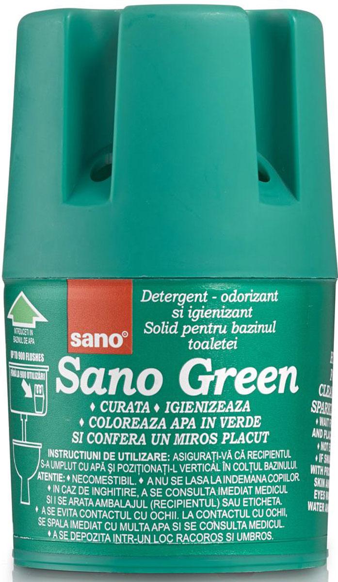 Мыло для сливного бака Sano Green, гигиеническое, 150 г600094Гигиеническое мыло для унитазов. Устанавливается в сливной бачок. Очищает и дезинфицирует при каждом сливе воды. Обладает приятным запахом, окрашивает воду в зеленый цвет. До 900 сливов.