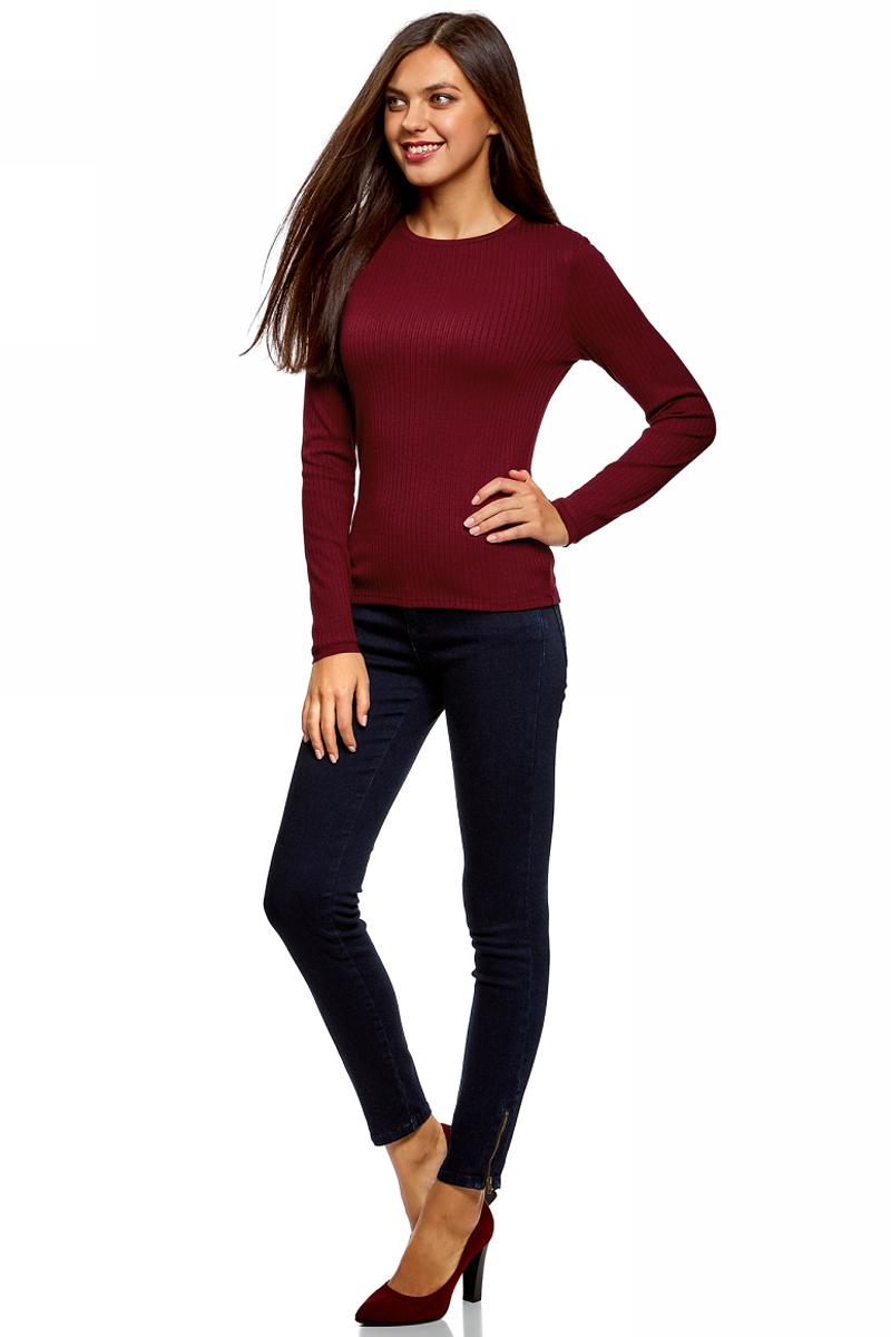 Джемпер женский oodji Ultra, цвет: бордовый. 14801063/46412/4900N. Размер M (46)14801063/46412/4900N