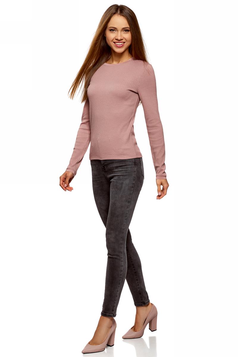 Джемпер женский oodji Ultra, цвет: розовый. 14801063/46412/4A00N. Размер XS (42)14801063/46412/4A00NЖенский джемпер от oodji выполнен из пряжи сложного состава. Модель в рубчик с длинными рукавами и круглым вырезом горловины.