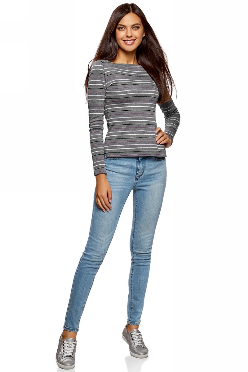 Джемпер женский oodji Ultra, цвет: серый. 14201028/47889/2583S. Размер M (46)14201028/47889/2583SЖенский джемпер от oodji выполнен из хлопкового трикотажа. Модель с длинными рукавами и широким вырезом горловины каре.