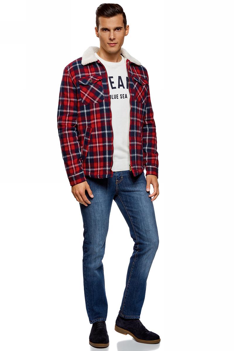 Рубашка мужская oodji Lab, цвет: красный. 1L511055M/47436N/4579C. Размер M (50)1L511055M/47436N/4579CУтепленная рубашка от oodji выполнена из натурального хлопка. Модель на подкладке из искусственной овчины с длинными рукавами и отложным воротником застегивается на молнию. На груди дополнена накладными карманами.