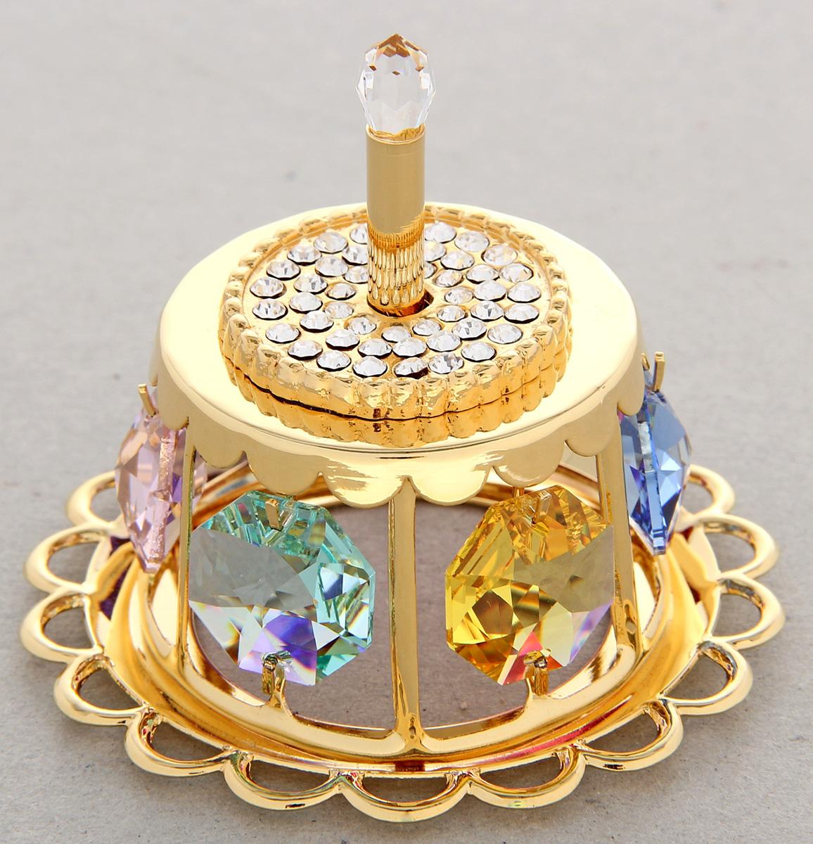 Миниатюра Swarovski Elements Торт праздничный, с кристаллами Сваровски, 5,5 х 5,5 х 5 см zu elements zu003emnsw70