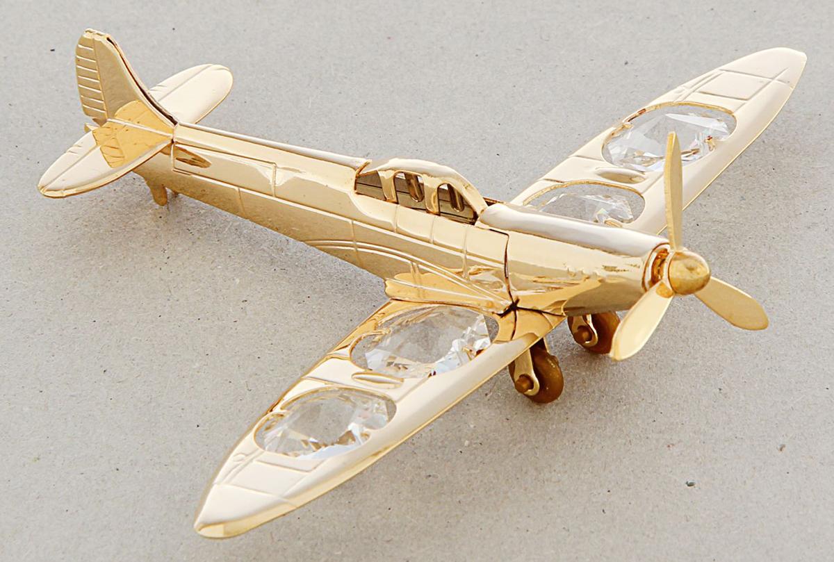 Миниатюра Swarovski Elements Самолет, с кристаллами Сваровски, 11 х 8 х 2 см сувенир брошь деревянная самолет