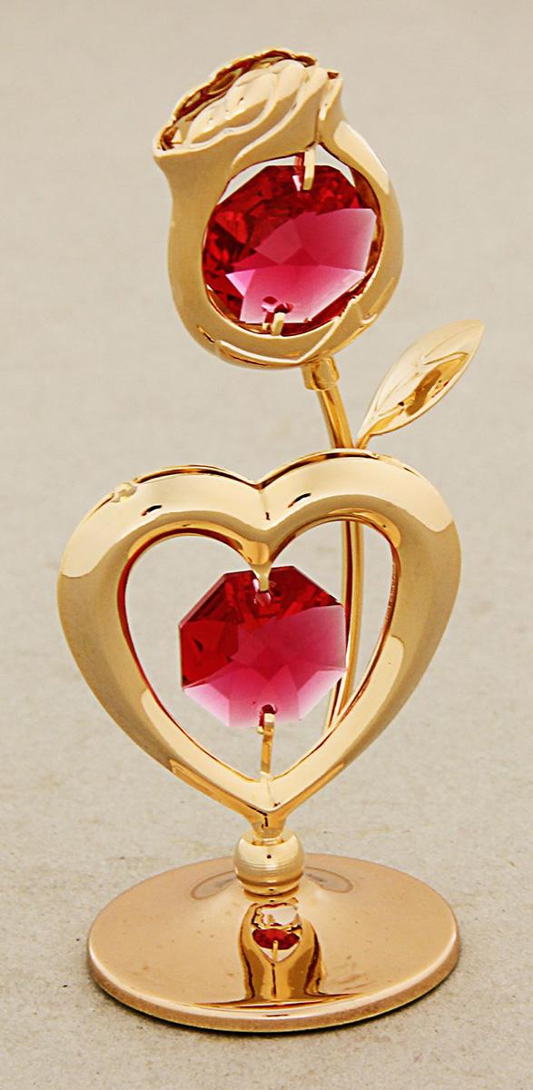 Миниатюра Роза с сердцем, с кристаллами Сваровски, 4,5 х 6,5 х 9 см1431462Сувенирное сердце станет идеальным подарком близкому человеку и всем любителям эксклюзивных вещей ручной работы. Символ сердца связан с образом взаимной любви. Именно поэтому такой подарок можно подарить, чтобы выразить свои чувства любимому человеку.Сувенир украшен стразами Swarovski, которые были признаны специалистами лучшей имитацией бриллиантов. Свет, попадая на кристаллы Swarovski, разбивается на миллион радужных лучей. Это зрелище, бесспорно, оставляет яркое впечатление!