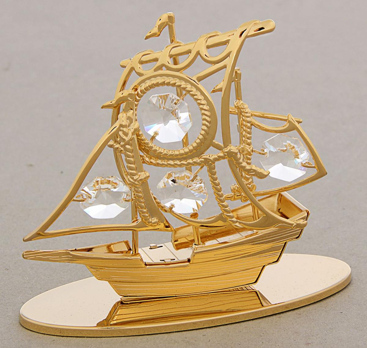 Миниатюра Корабль, с кристаллами Сваровски, 9 х 6 х 10 см1431470Добавьте окружающему пространству отблеск роскоши: украсьте его сувениром с мерцающими кристаллами Swarovski. Это идеальное украшение интерьера, а также хороший подарок для человека, который ценит оригинальные и эксклюзивные вещи.