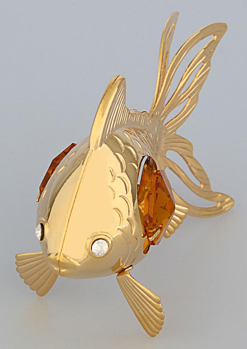 Миниатюра Swarovski Elements Золотая рыбка, с кристаллами Сваровски, 6 х 3 х 4,5 см. 17814731781473Перед вами — сувенир в полном смысле этого слова. И главная его задача — хранить воспоминание о месте, где вы побывали, или о том человеке, который подарил данный предмет. Преподнесите эту вещь своему другу, и она станет достойным украшением его дома.