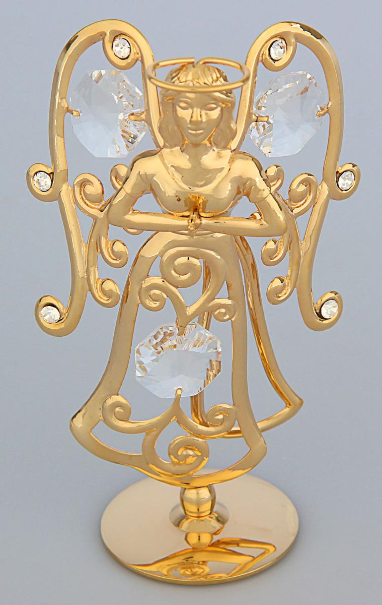 Миниатюра Swarovski Elements Ангелочек, на подставке с кристаллами Сваровски, 5 х 3 х 9 см1781474Перед вами — сувенир в полном смысле этого слова. И главная его задача — хранить воспоминание о месте, где вы побывали, или о том человеке, который подарил данный предмет. Преподнесите эту вещь своему другу, и она станет достойным украшением его дома.