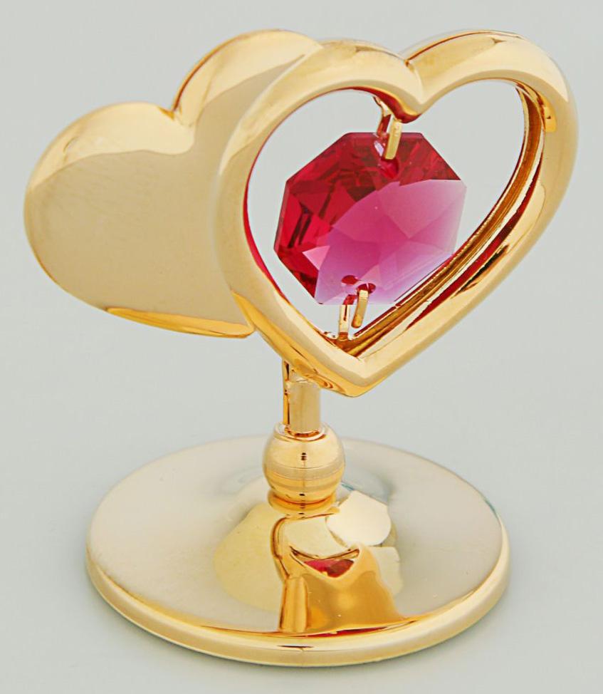"""Миниатюра """"Два сердца"""", с кристаллами Сваровски, 5,2 х 3,5 х 7,7 см"""