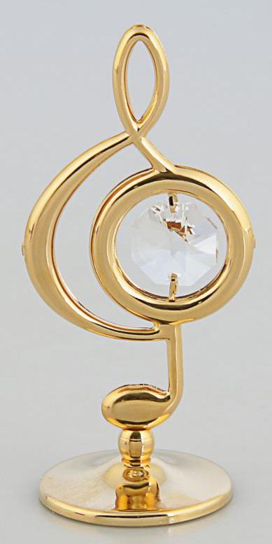 Миниатюра Скрипичный ключ, с кристаллами Сваровски, 5 х 3 х 8 см2190674Перед вами — сувенир в полном смысле этого слова. И главная его задача — хранить воспоминание о месте, где вы побывали, или о том человеке, который подарил данный предмет. Преподнесите эту вещь своему другу, и она станет достойным украшением его дома.