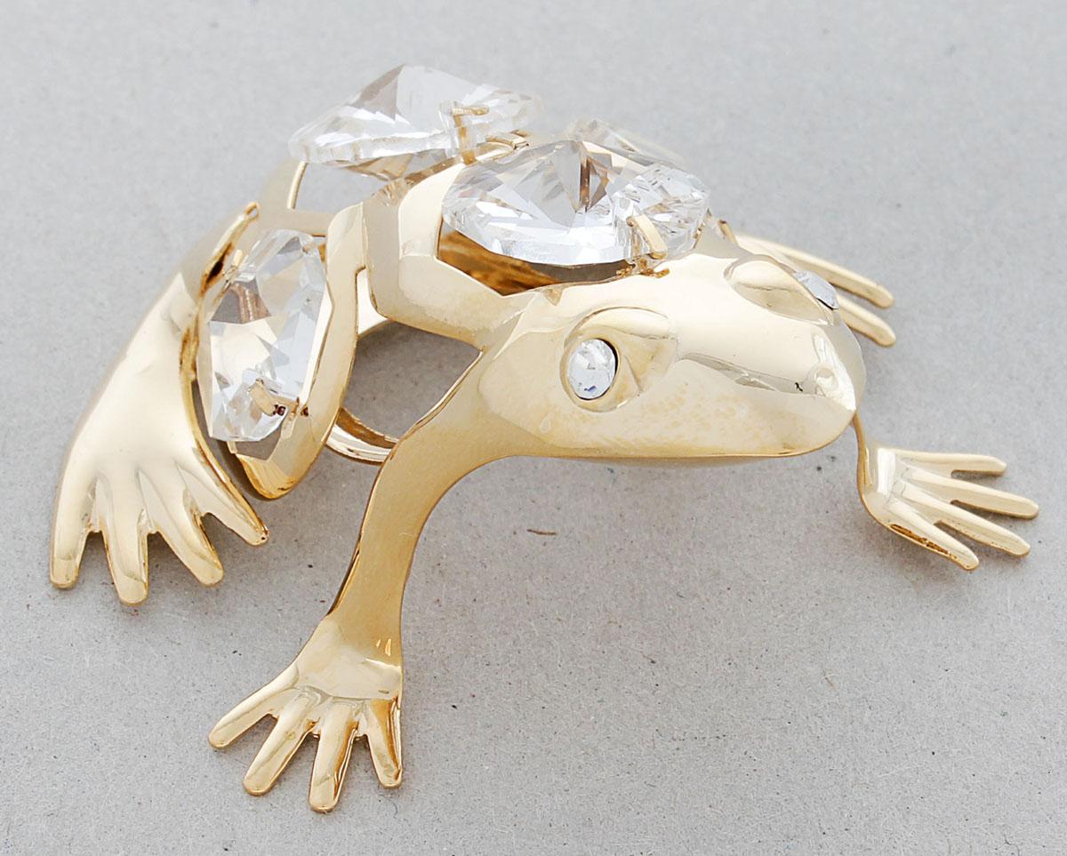 Миниатюра Swarovski Elements Лягушка, с кристаллами Сваровски, 6 х 5 х 9 см278538Сувенирная лягушка станет идеальным подарком близкому человеку и всем любителям эксклюзивных вещей ручной работы. Это символ перемен к лучшему, преодоления любых препятствий и жизненных трудностей. Кроме того, по символике Фэн-шуй лягушка является символом богатства, приносит в дом процветание и способствует привлечению денежной энергии.Сувенир украшен стразами Swarovski, которые были признаны специалистами лучшей имитацией бриллиантов. Свет, попадая на кристаллы Swarovski, разбивается на миллион радужных лучей. Это зрелище, бесспорно, оставляет яркое впечатление!