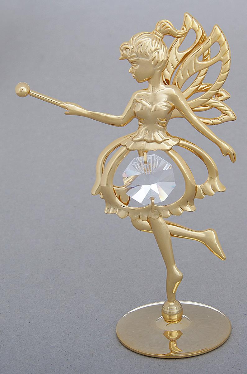 Миниатюра Swarovski Elements Фея, на подставке, с кристаллом Сваровски, 9 х 5 х 6 см788672Сувенирная фея станет идеальным подарком близкому человеку и всем любителям эксклюзивных вещей ручной работы. Она считается символом изящества, обаяния и хрупкости, красоты, свободолюбия, независимости и вечной юности.Сувенир украшен стразами Swarovski, которые были признаны специалистами лучшей имитацией бриллиантов. Свет, попадая на кристаллы Swarovski, разбивается на миллион радужных лучей. Это зрелище, бесспорно, оставляет яркое впечатление!
