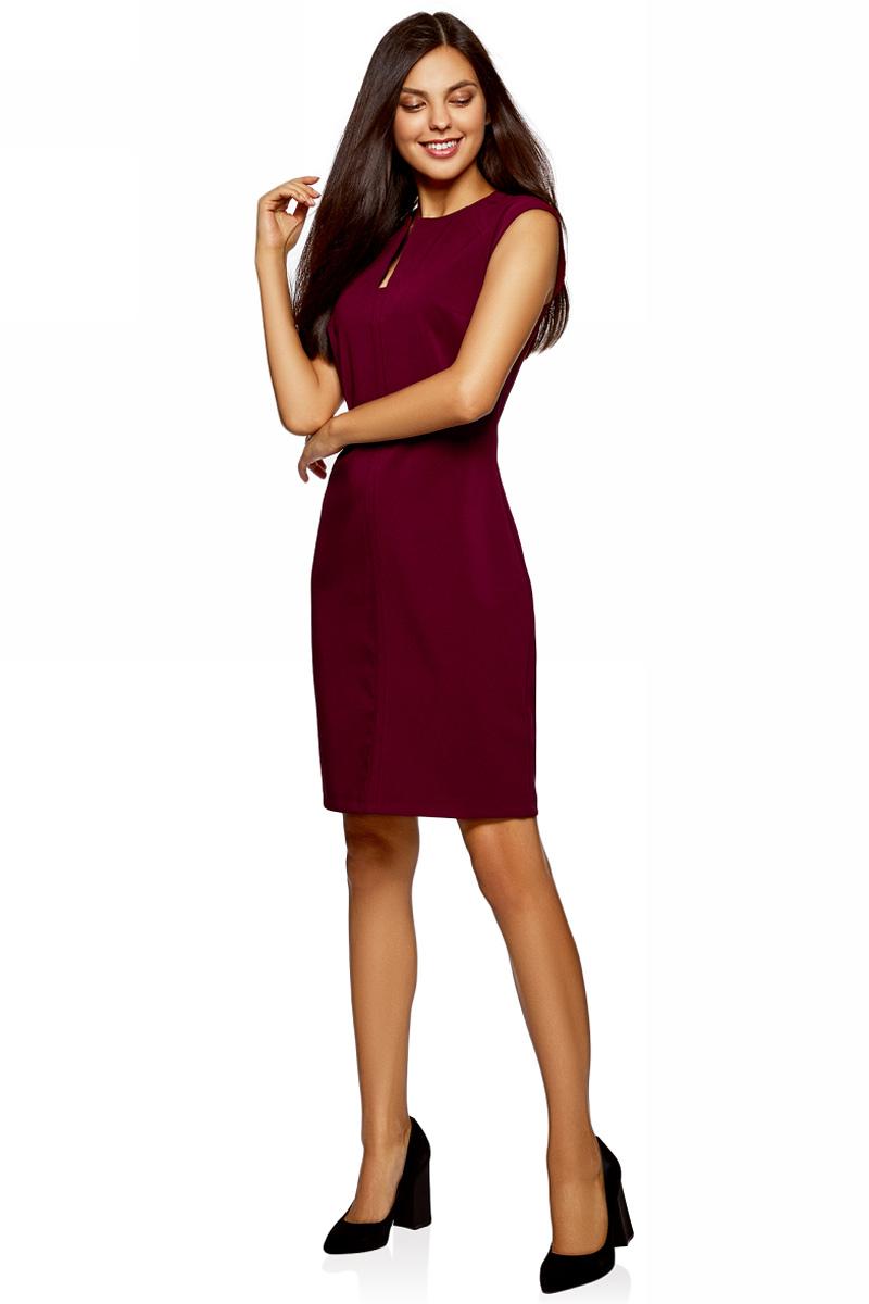 Платье oodji Collection, цвет: бордовый. 22C12001/42250/4900N. Размер 42-164 (48-164)22C12001/42250/4900NСтильное мини-платье от oodji выполнено из эластичного трикотажа. Модель облегающего кроя с короткими рукавами-реглан и фигурным вырезом горловины на спине застегивается на потайную застежку-молнию.