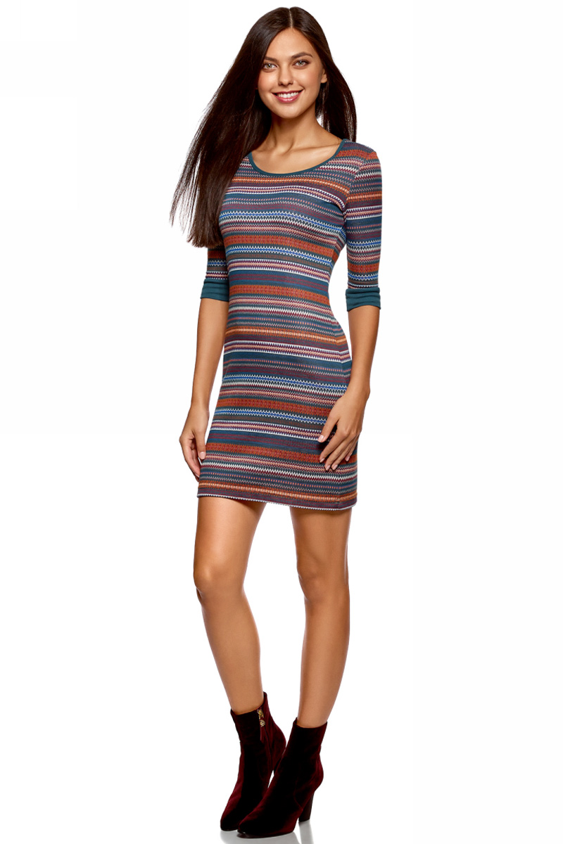 Платье oodji Ultra, цвет: бирюзовый. 14001064-5/46025/7649G. Размер XS (42)14001064-5/46025/7649GЖенское облегающее трикотажное платье oodji Ultra имеет круглый вырез, рукава 1/2 и оформлено принтом.