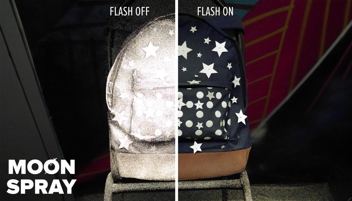 """Светоотражающий спрей MOON Spray """"Textile"""" для одежды, обуви и аксессуаров. Прозрачный, смывается при стирке, устойчив к осадкам! Идеально для кроссовок, рюкзаков, кепок, верхней одежды. Светоотражающий MOON Spray повышает видимость обработанных предметов в темное время суток. MOON Spray делает объекты видимыми в темное время суток в свете автомобильных фар. Светоотражающий спрей идеально подходит для передвижения в условиях плохой видимости, для вечерних прогулок или занятий спортом.  Объем: 150 мл. Расход: 1,5 м2. Длительность покрытия: 10 дней.   Состав: озонобезопасный углеводородный пропеллент >30%; алифатические углеводороды   Способ применения: Светоотражающий MOON Spray """"Textile"""" повышает видимость обработанных предметов в темное время суток. Спрей отражает свет прямо по направлению к источнику света. Это означает, что только человек, находящийся около источника света увидит эффект (например, водитель за рулем автомобиля). MOON Spray """"Textile"""" держится на обработанных вещах примерно в течение недели, степень устойчивости покрытия зависит от материала поверхности и степени трения. Идеально подходит для нанесения на текстильные материалы, замшу и шерсть. Наименьшая устойчивость спрея при нанесении на гладкие синтетические материалы. 1. Перед использованием тщательно встряхнуть в течение 1 минуты. Перед обработкой сделайте 1-2 однократных распыления в сторону. Распылять в хорошо проветриваемом помещении. 2. Наносить спрей с расстояния 20-30 см, держа баллончик в вертикальном состоянии. Невидимость покрытия зависит от степени интенсивности нанесения спрея на поверхность. 3. По окончании работы во избежание засорения перевернуть баллончик вверх дном и распылять до тех пор, пока не будет поступать спрей. 4. Проверьте эффект, сфотографировав на камеру телефона со вспышкой, или посветив фонариком, держа его на уровне глаз.      Гид по велоаксессуарам. Статья OZON Гид"""