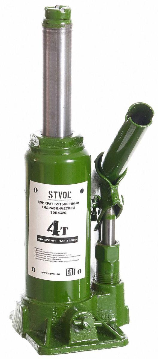 Домкрат бутылочный Stvol, 4 т, 170-320 ммSDB4320Автомобильный бутылочный домкрат для легковых автомобилей. Максимальная нагрузка 4 тонныИзготовлен из стали.
