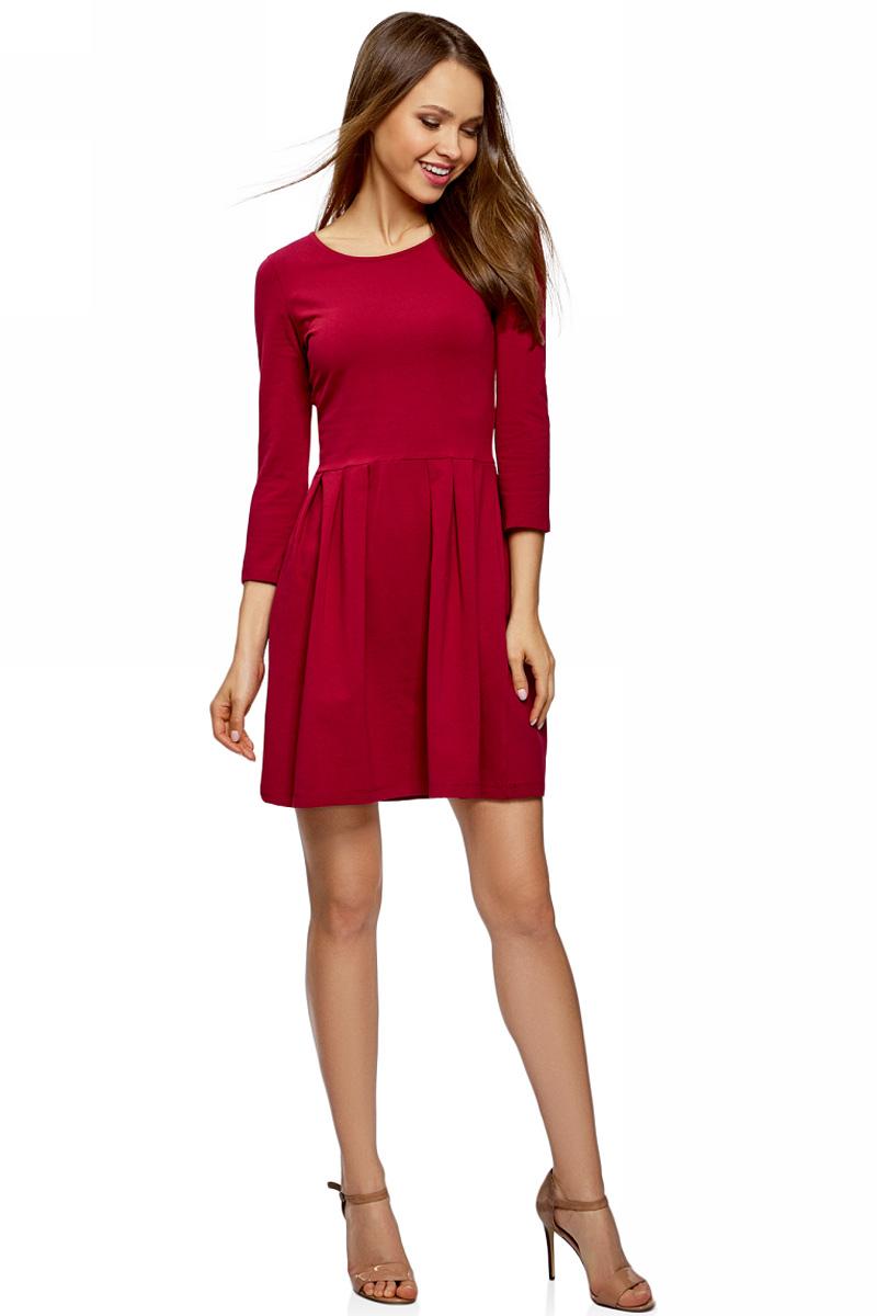 Платье oodji Ultra, цвет: бордовый. 14011005-3B/46148/4900N. Размер M (46)14011005-3B/46148/4900NПлатье от oodji выполнено из эластичного хлопкового трикотажа. Модель с рукавами 3/4 и круглым вырезом горловины дополнена отрезной юбкой со складками.