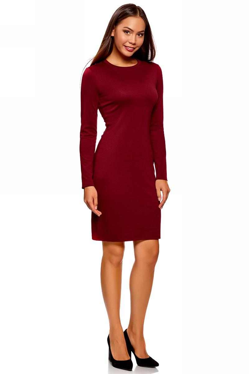 Платье oodji Ultra, цвет: бордовый. 14011027/38261/4900N. Размер S (44)14011027/38261/4900NСтильное мини-платье от oodji выполнено из эластичного трикотажа. Модель приталенного кроя с длинными рукавами и круглым вырезом горловины.