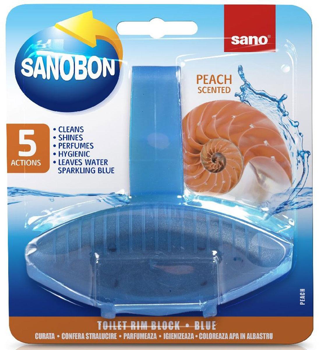 Подвеска для унитаза Sano Sanobon Blue. Peach, классическая, 55 г600086Подвеска для унитаза Sano Sanobon Blue. Peach имеет 5 функций: обладает гигиеническими свойствами, моет, придает блеск, освежает, окрашивает воду. До 800 сливов. Товар сертифицирован.Как выбрать качественную бытовую химию, безопасную для природы и людей. Статья OZON Гид