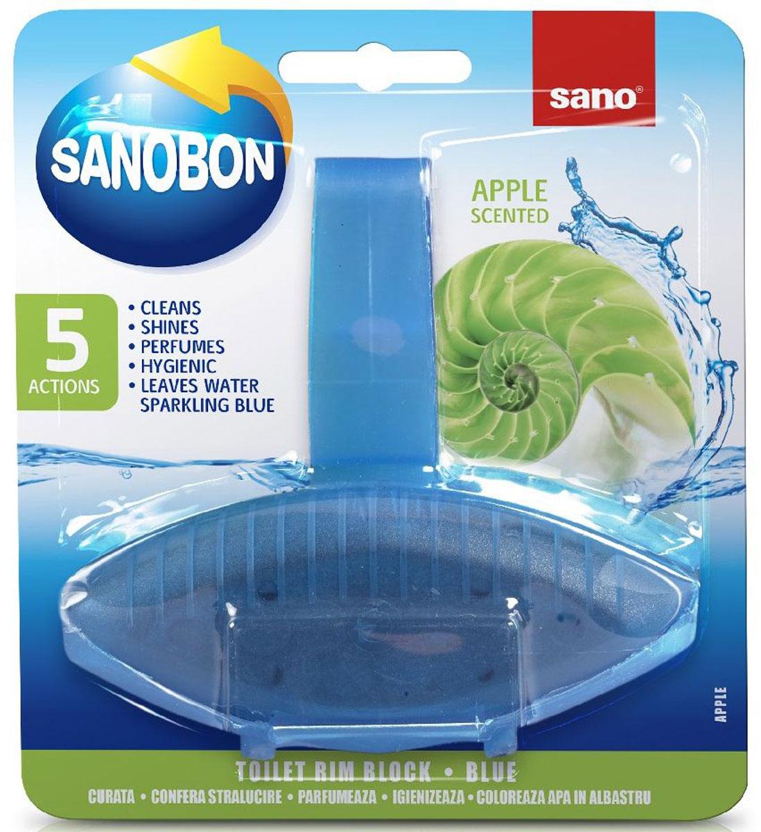 Подвеска для унитаза Sano Sanobon Blue. Apple, классическая, 55 г600087Подвеска для унитаза Sano Sanobon Blue. Apple имеет 5 функций: обладает гигиеническими свойствами, моет, придает блеск, освежает, окрашивает воду. Товар сертифицирован.Как выбрать качественную бытовую химию, безопасную для природы и людей. Статья OZON Гид
