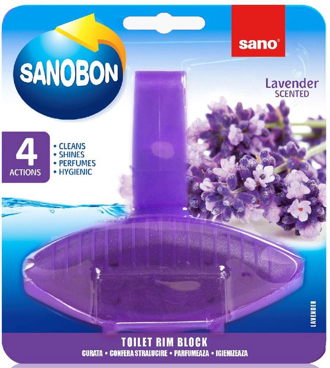 Подвеска для унитаза Sano Sanobon Blue Purple Lavender, классическая, 55 г600088Серия экономичных упаковок для унитаза. 5 функций: обладает гигиеническими свойствами, моет, придает блеск, освежает, окрашивает воду. До 800 сливов