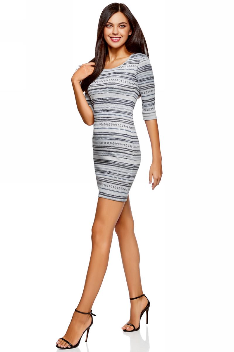 Платье oodji Ultra, цвет: голубой. 14001064-5/46025/7079G. Размер S (44)14001064-5/46025/7079GЖенское облегающее трикотажное платье oodji Ultra имеет круглый вырез, рукава 1/2 и оформлено принтом.