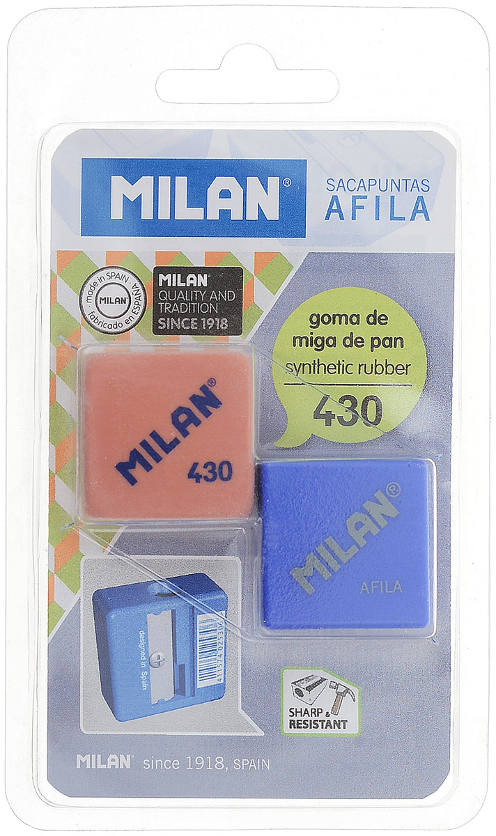 Milan Точилка Afila с ластиком цвет красный синийBYM10003_Красный,синийЛастик Milan 430 в комплекте с точилкой AFILA в блистерной упаковке.