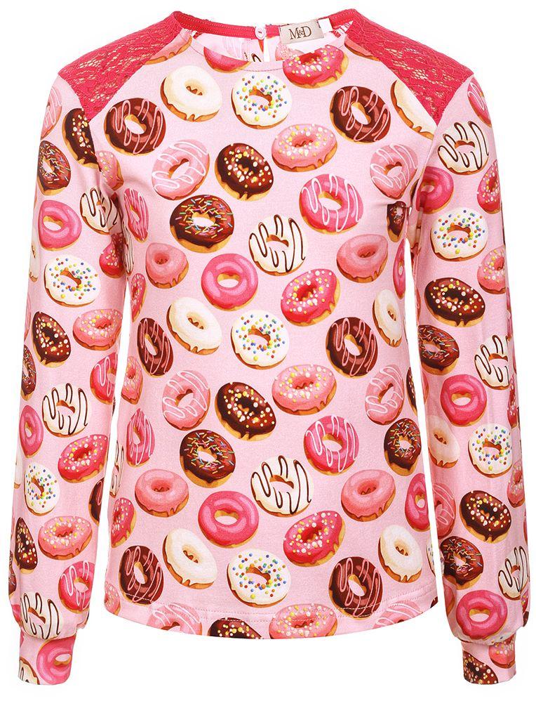 Блузка для девочки M&D, цвет: розовый. WKJR27005MS91. Размер 140WKJR27005MS91Блузка для девочки от M&D выполнена из эластичного хлопкового трикотажа. Модель с длинными рукавами и круглым вырезом горловины на спинке застегивается на пуговицу, на плечах декорирована гипюровыми вставками. Рукава дополнены широкими манжетами.