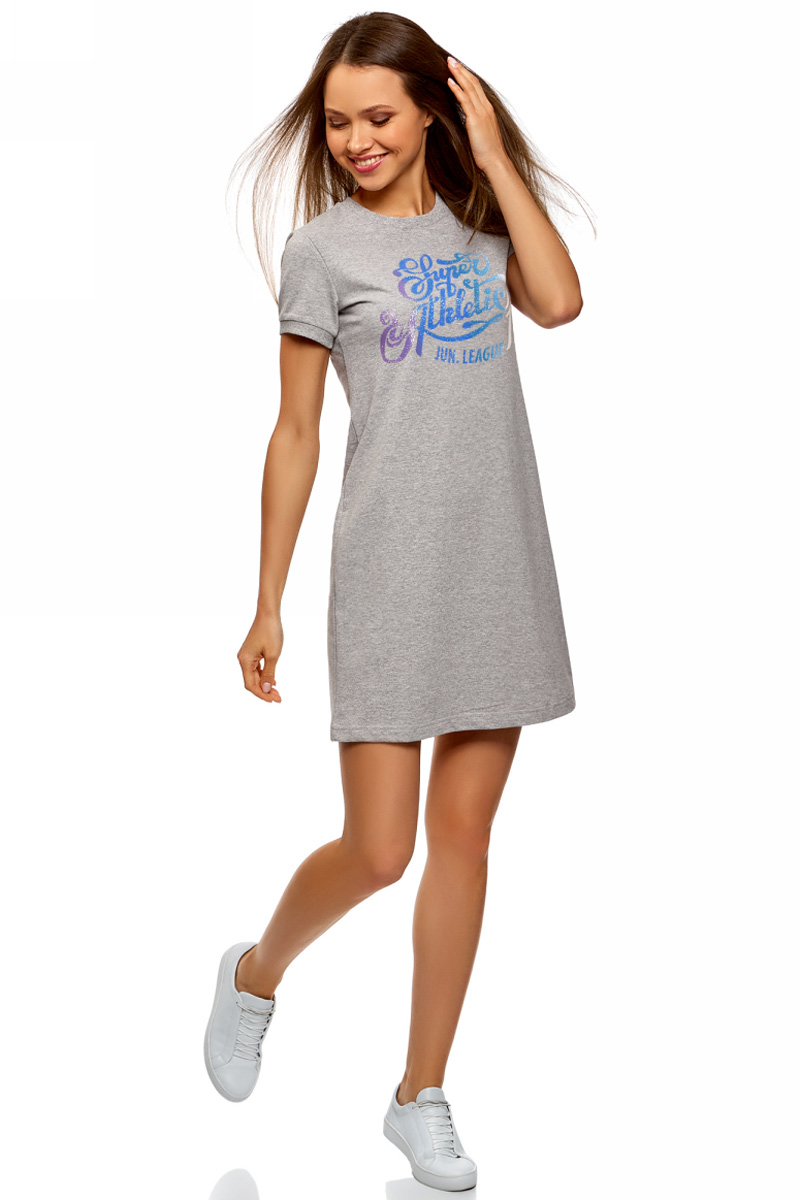 Платье oodji Ultra, цвет: серый. 14000162-5/47481/2075Z. Размер M (46)14000162-5/47481/2075ZСтильное мини-платье от oodji выполнено из натурального хлопкового трикотажа. Модель свободного кроя с короткими рукавами и круглым вырезом горловины на груди оформлена принтованной надписью.