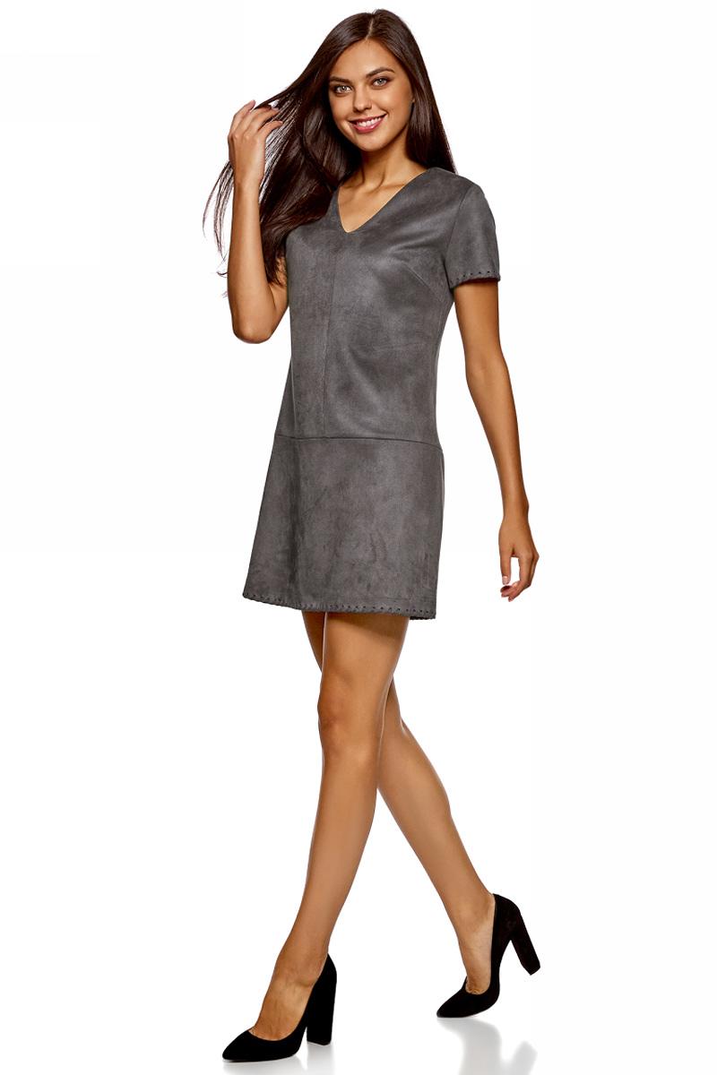 Платье oodji Ultra, цвет: серый. 18L03002/45778/2500N. Размер 44-170 (50-170)18L03002/45778/2500NСтильное мини-платье от oodji выполнено из искусственной замши. Модель с короткими рукавами и V-образным вырезом горловины.