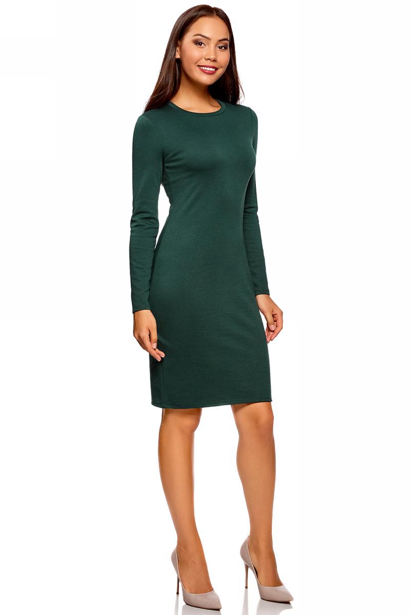 Платье oodji Ultra, цвет: темно-зеленый. 14011027/38261/6900N. Размер XXL (52)14011027/38261/6900NСтильное мини-платье от oodji выполнено из эластичного трикотажа. Модель приталенного кроя с длинными рукавами и круглым вырезом горловины.