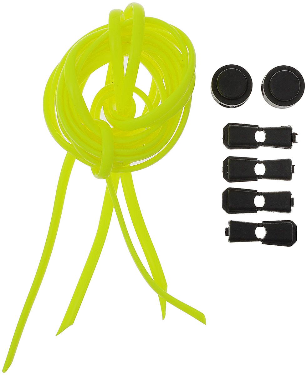 Шнурки силиконовые Hilace Group, цвет: желтый. Арт-2845Арт-2845Шнурок силиконовый желтый флуоресцентный длинномерный Длина: 2,2 метра, 2 фиксатора, 2 зажима Шнурки компании Hilace GROUP изготовлены в России из 100% силикона, что подтверждено сертификатами и протоколами испытаний. Сегмент: спортсмены (не развязываются во время бега и занятия спортом, надежная фиксация обуви без стягивания стопы ), дети (90 % не умеют завязывать шнурки + есть люминесцентные цвета «светонакопители»), для людей с ограниченными возможностями, беременные, модники, лентяи. Силиконовые шнурки от HILACE GROUP можно носить в любую погоду и при любой температуре, в отличие от резины они не впитывают грязь и не растягиваются со временем. Срок службы более 2 лет.