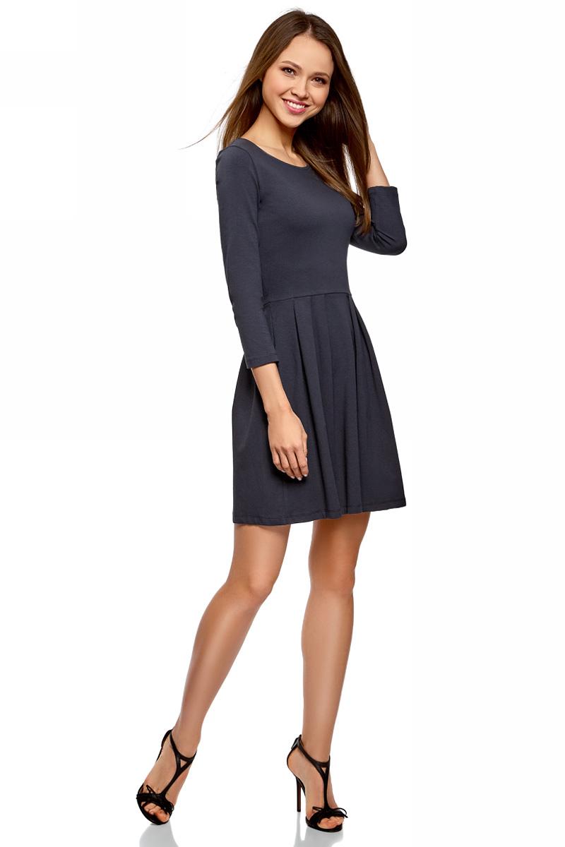 Платье oodji Ultra, цвет: темно-синий. 14011005-3B/46148/7900N. Размер S (44)14011005-3B/46148/7900NПлатье от oodji выполнено из эластичного хлопкового трикотажа. Модель с рукавами 3/4 и круглым вырезом горловины дополнена отрезной юбкой со складками.