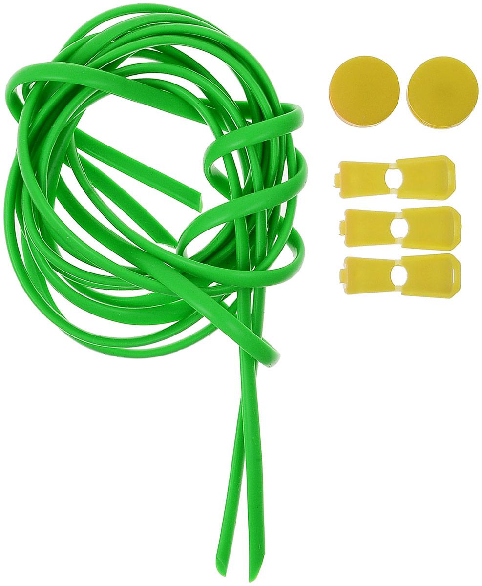 Шнурки силиконовые Hilace Group, цвет: зеленый. Арт-2852Арт-2852Шнурок силиконовый зеленый флуоресцентный длинномерныйДлина: 2,2 метра, 2 фиксатора, 2 зажима Шнурки компании Hilace GROUP изготовлены в России из 100% силикона, что подтверждено сертификатами и протоколами испытаний. Сегмент: спортсмены (не развязываются во время бега и занятия спортом, надежная фиксация обуви без стягивания стопы ), дети (90 % не умеют завязывать шнурки + есть люминесцентные цвета «светонакопители»), для людей с ограниченными возможностями, беременные, модники, лентяи. Силиконовые шнурки от HILACE GROUP можно носить в любую погоду и при любой температуре, в отличие от резины они не впитывают грязь и не растягиваются со временем. Срок службы более 2 лет.