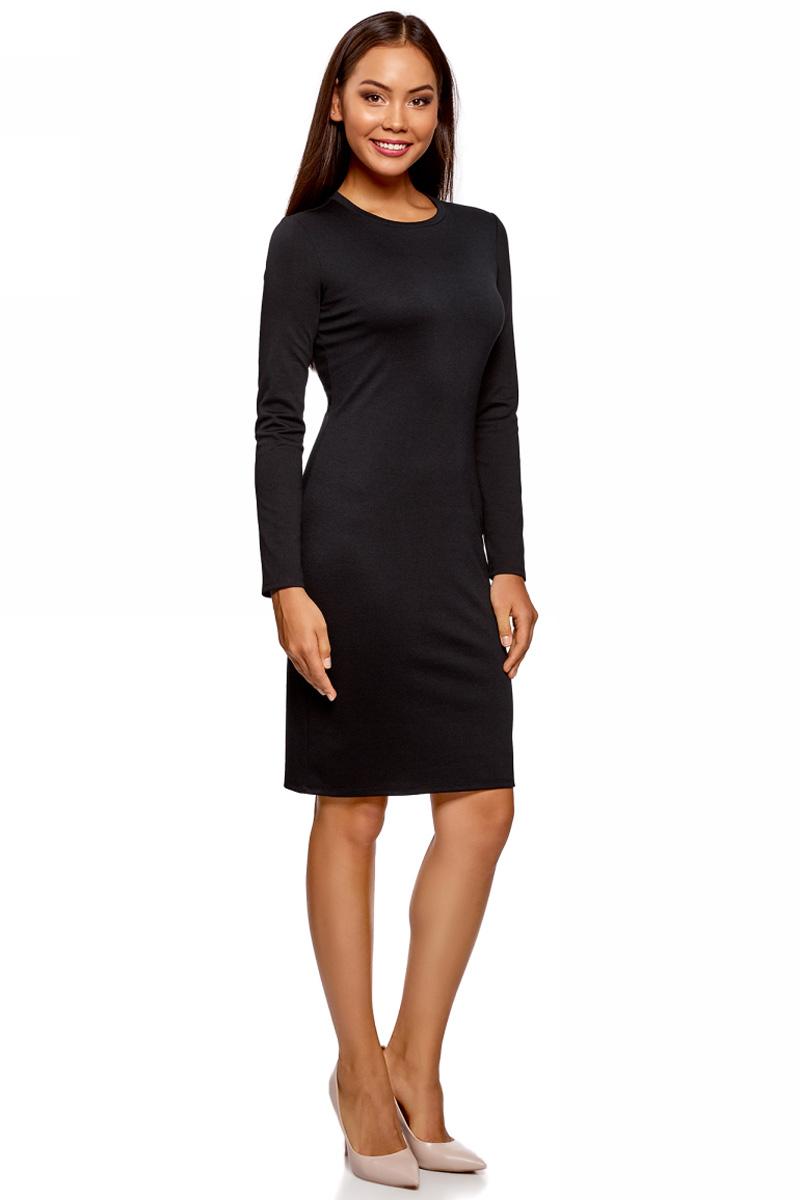 Платье oodji Ultra, цвет: черный. 14011027/38261/2900N. Размер M (46)14011027/38261/2900NСтильное мини-платье от oodji выполнено из эластичного трикотажа. Модель приталенного кроя с длинными рукавами и круглым вырезом горловины.