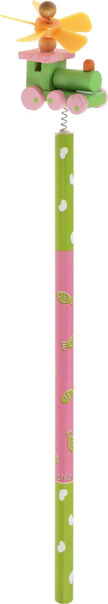 Карамба Карандаш простой Паровозик цвет корпуса cалатовый розовый4620770208237_cалатовый, розовый