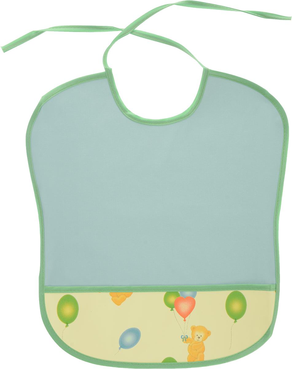 Колорит Нагрудник с карманом Мишки цвет бирюзовый желтый 33 см х 33 см бра 22 х 33 х 33