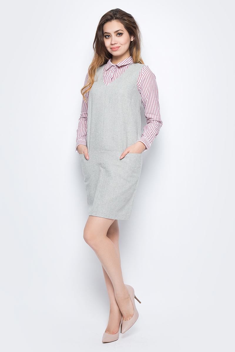Сарафан Baon, цвет: серый. B467505_Silver Melange. Размер L (48) платье baon цвет серый b457530 silver melange размер l 48