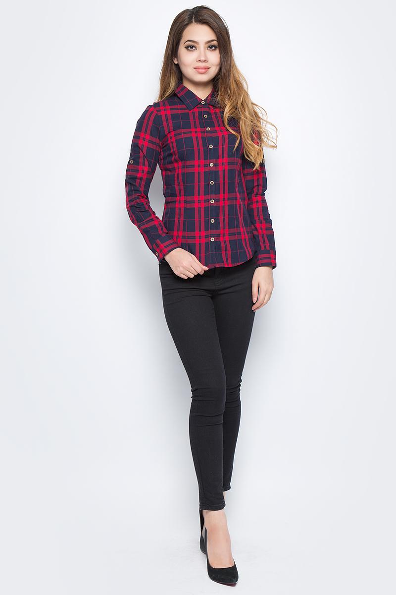 Рубашка женская Bello Belicci, цвет: темно-красный. SA1_40. Размер XS (40)SA1_40Рубашка женская Bello Belicci выполнена из натурального хлопка. Модель с отложным воротником и длинными рукавами застегивается на пуговицы.