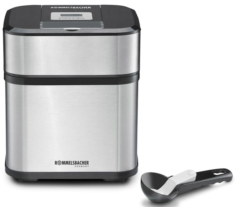 Rommelsbacher IM 12 мороженица00-00001436Приготовление мороженого, замороженного йогурта, сорбета и фруктового льда (slush ice).Съемный блок двигателяЖК-дисплей с подсветкойТаймер на 40 минутКрышка с отверстием для добавления ингредиентовСъемная чаша для замораживания 1,5 лСъемный мешалкаЗащита от перегреваЦвет: черный / нержавеющая стальПитание: 230 В, 12 Вт