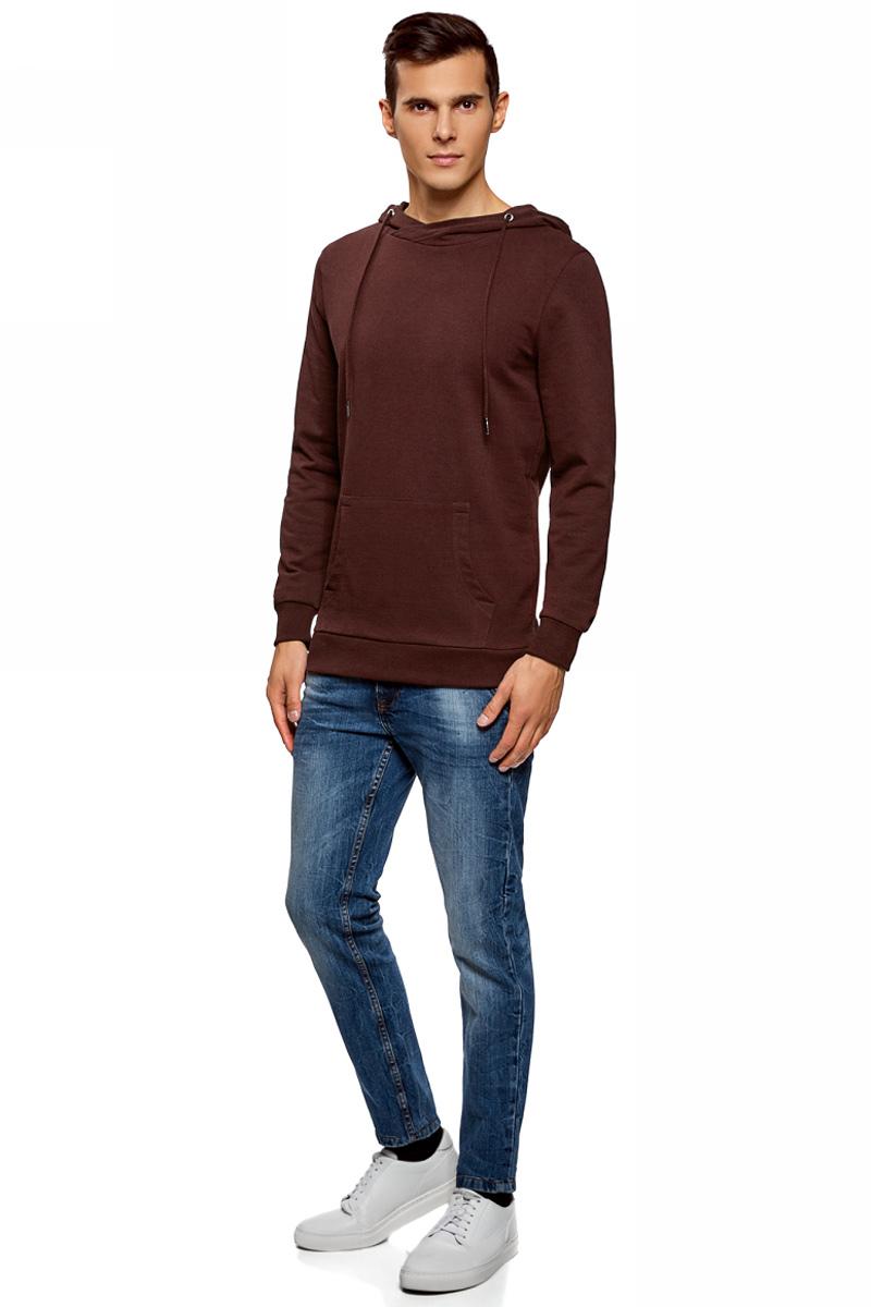 Худи мужское oodji Basic, цвет: бордовый. 5B111004M/47648N/4900N. Размер M (50)