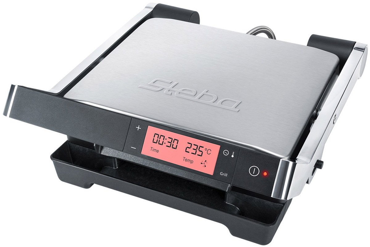 Steba FG 100 электрогриль00-00001447Электрогриль Steba FG 100 - стильный прибор с отделкой из нержавеющей стали. Специальные каналы быстро отводят жир, не допуская его впитывания в продукты. Он собирается в специальном поддоне, за счет чего приготовленные блюда получаются не только вкусными, но и полезными.Гриль оснащен съемными пластинами с антипригарным покрытием. Для удаления остатков жира и засохшей пищи достаточно промыть их под струей проточной воды.