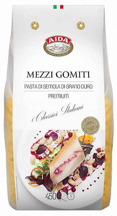 Aida Mezzi Gomiti рожок, 450 г4607072719166Варить в кипящей подсоленной воде в соотношении 100 г продукта на 1 литр воды. Время варки: 11 минут.