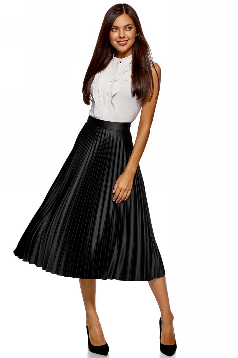 Юбка oodji Collection, цвет: черный. 21606020-4/46956/2900N. Размер 40-170 (46-170) платье oodji collection цвет красный 21902060 4 14917 4500n размер 40 170 46 170