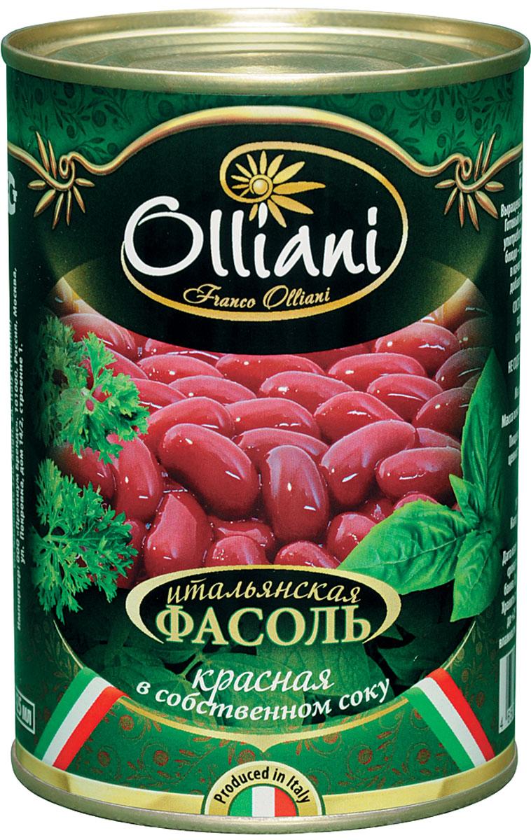 Olliani фасоль красная в собственном соку, 425 г