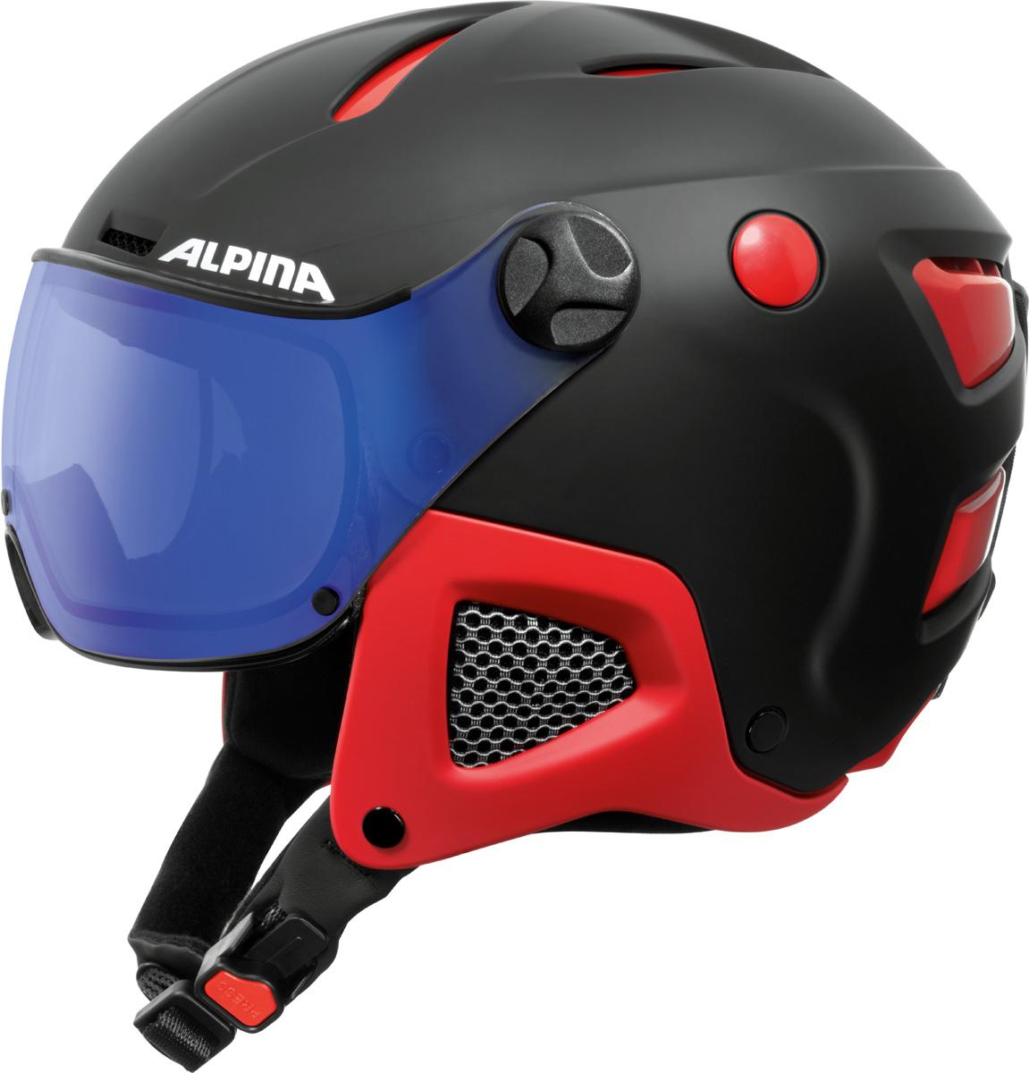 Шлем горнолыжный Alpina Attelas Visor VHM, цвет: черный, красный. A9091_32. Размер 53-58A9091_32Первый шлем, который может менять свой объем. Запатентованная ERGO3 - это новая и уникальная технология которая позволяет изменять конструкцию шлема для изменения объема. Простая и интуитивная настройка позволяет идеально подогнать размер под любую формы головы. Жесткие уши, качественная кожа и ткань - интерьер этого жесткого шлема также обеспечит идеально высокий уровень комфорта износ. Ткань Coolmax обеспечивает быстрый отвод влаги. Вентиляцию можно раскрыть или закрыть одним движением -даже во время ношения перчаток и во время высокоскоростных спусков. Varioflex - технология позволяет визору адаптировать свой оттенок к преобладающие условия освещения. Визор имеет вентиляцию - без подкладки пены внизу, что позволяет носить очки внутри шлема. Уровень защиты Визора: S1-2.Что взять с собой на горнолыжную прогулку: рассказывают эксперты. Статья OZON Гид